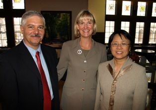 Gilles Bousquet, dean of the Division of International Studies, Lt. Govenor Barbara Lawton, and Professor Leyuan Shi